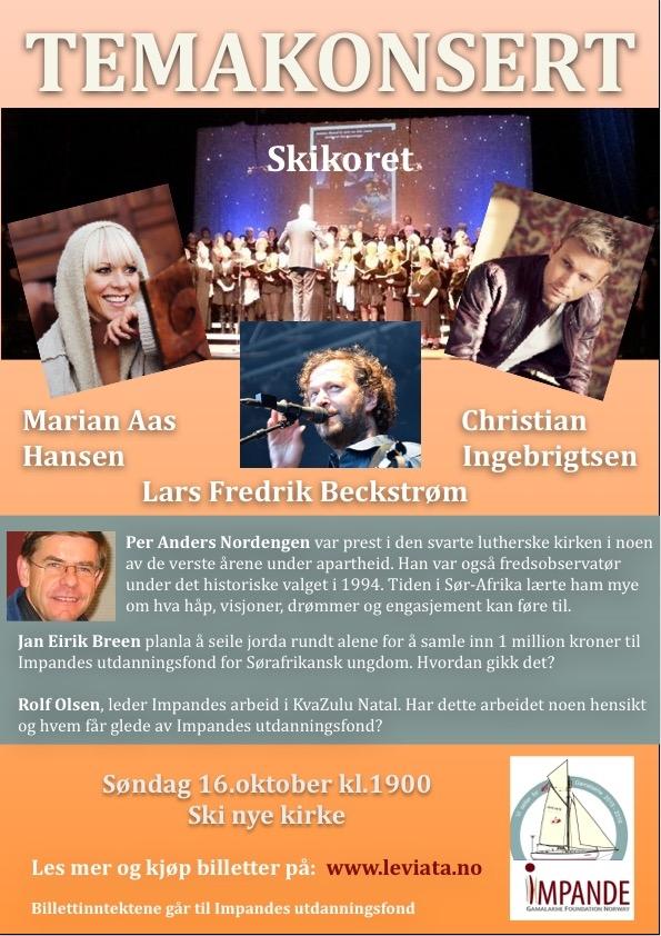 Temakonsert i Ski nye kirke søndag 16.oktober!